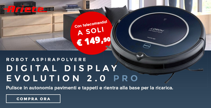 Ariete Robot Aspirapolvere Digital Display Evolution 2.0 Pro Ariete